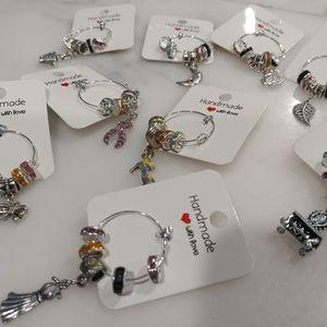 Set of 8 wine glass charms